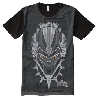 Camiseta Com Impressão Frontal Completa Emblema da cabeça da pantera preta de pantera