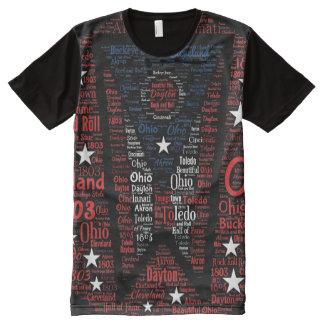 Camiseta Com Impressão Frontal Completa Estado de arte da palavra da bandeira de Ohio por