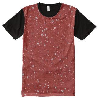 Camiseta Com Impressão Frontal Completa Estrelas do brilho - vermelho de prata