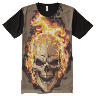 Camiseta Com Impressão Frontal Completa Fire Skull