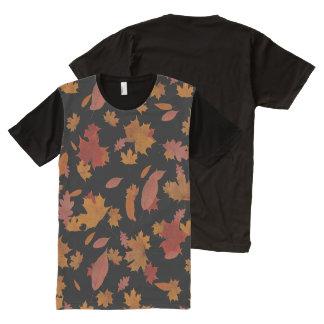 Camiseta Com Impressão Frontal Completa Folhas de outono de queda da natureza no preto