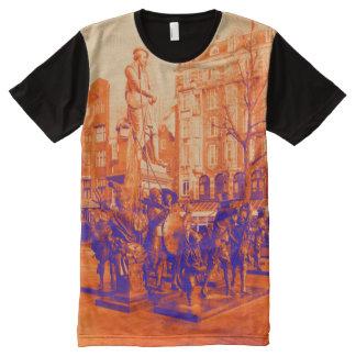 Camiseta Com Impressão Frontal Completa foto digital de Amsterdão da estátua de rembrandt