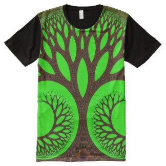 Camiseta Com Impressão Frontal Completa Fractal fino abstrato da árvore 2