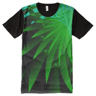 Camiseta Com Impressão Frontal Completa Fractal fino abstrato psicadélico da alga 3