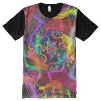 Camiseta Com Impressão Frontal Completa Fractal fino abstrato psicadélico da dança 2