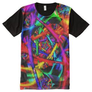 Camiseta Com Impressão Frontal Completa Fractal fino abstrato psicadélico do fogo