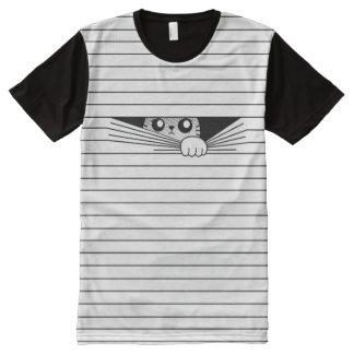 Camiseta Com Impressão Frontal Completa Gato de Scaredy