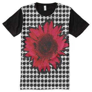 Camiseta Com Impressão Frontal Completa Girassol vermelho de XXL no motivo preto do