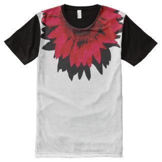 Camiseta Com Impressão Frontal Completa Girassol vermelho de XXL preto e branco