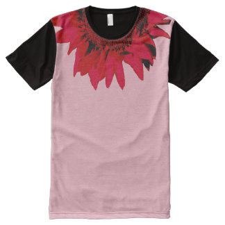 Camiseta Com Impressão Frontal Completa Girassol vermelho de XXL que acentua o preto e o