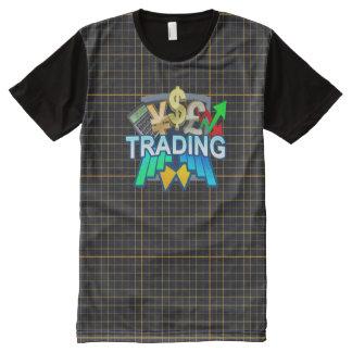 Camiseta Com Impressão Frontal Completa Grade alaranjada de troca todo o t-shirt impresso