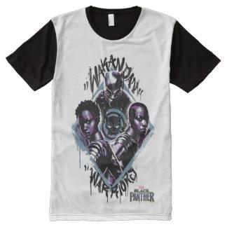Camiseta Com Impressão Frontal Completa Grafites dos guerreiros da pantera preta |