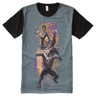 Camiseta Com Impressão Frontal Completa Guerreiros da pantera preta | Wakandan pintados