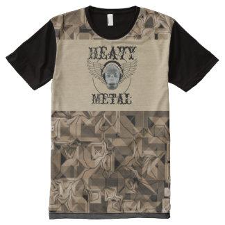 Camiseta Com Impressão Frontal Completa -Heavy Metal alpargata com caveira
