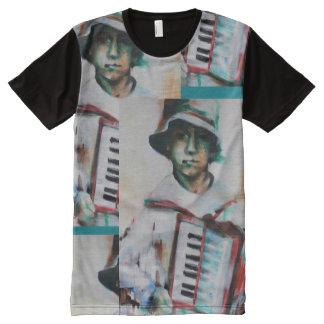 Camiseta Com Impressão Frontal Completa Homem do t-shirt, acordeão