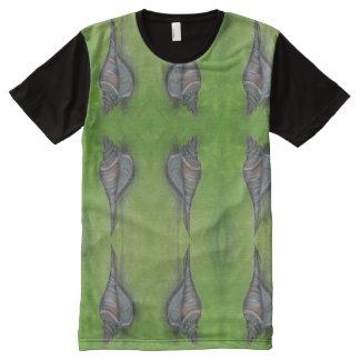 Camiseta Com Impressão Frontal Completa homens azuis da t-merda do seashell