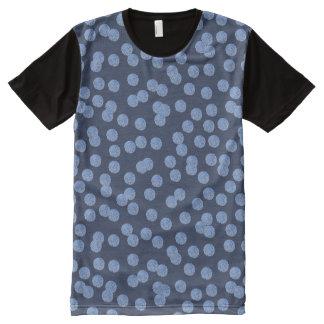Camiseta Com Impressão Frontal Completa Homens de bolinhas azuis por todo o lado no