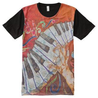 Camiseta Com Impressão Frontal Completa Homens de dedos loucos do piano por todo o lado no