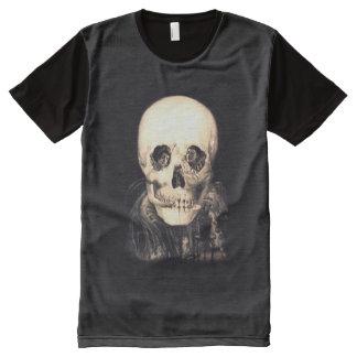 Camiseta Com Impressão Frontal Completa Ilusão do crânio