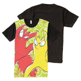 Camiseta Com Impressão Frontal Completa Ilustração engraçada cómico do asiático do gato da