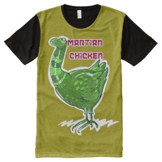 Camiseta Com Impressão Frontal Completa ilustração engraçada do estilo marciano dos