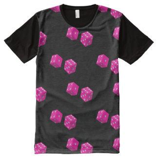 Camiseta Com Impressão Frontal Completa Impressão cor-de-rosa dos dados