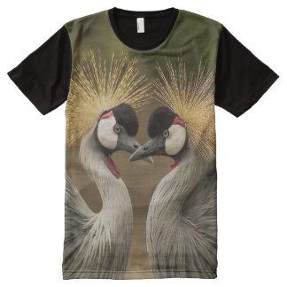 Camiseta Com Impressão Frontal Completa Impressão coroado cinza dos guindastes das
