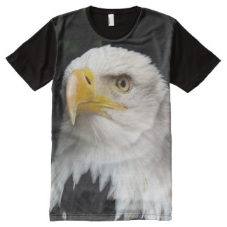 Camiseta Com Impressão Frontal Completa Impressão da águia americana das criaturas de todo