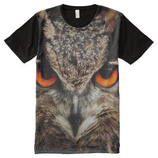 Camiseta Com Impressão Frontal Completa Impressão da coruja das criaturas de todo o deus
