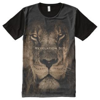 Camiseta Com Impressão Frontal Completa Impressão do leão das criaturas de todo o deus