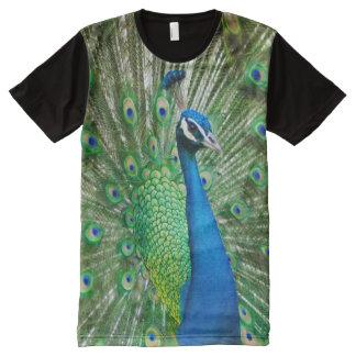 Camiseta Com Impressão Frontal Completa Impressão do pavão das criaturas de todo o deus