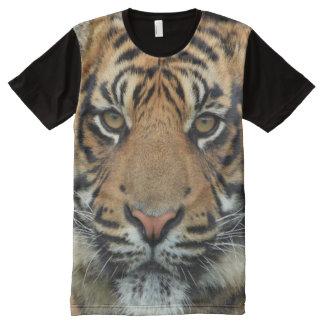 Camiseta Com Impressão Frontal Completa Impressão do tigre das criaturas de todo o deus