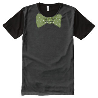 Camiseta Com Impressão Frontal Completa Impressão verde do laço com teste padrão de