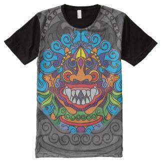 Camiseta Com Impressão Frontal Completa Lado do preto um da arte de Barong