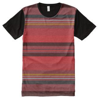 Camiseta Com Impressão Frontal Completa Listras - horizonte vermelho