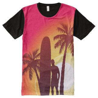 Camiseta Com Impressão Frontal Completa Longboard e palmas