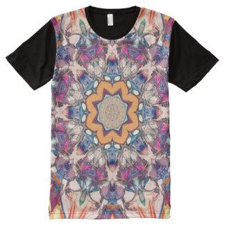 Camiseta Com Impressão Frontal Completa Mandala colorida
