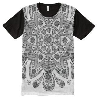 Camiseta Com Impressão Frontal Completa Mandala Tiga Abu Abu
