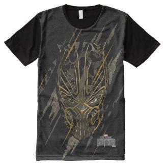 Camiseta Com Impressão Frontal Completa Marcas da garra da pantera preta | Erik Killmonger