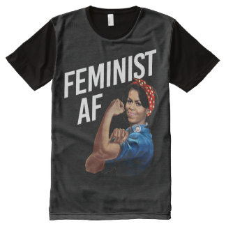 Camiseta Com Impressão Frontal Completa Michelle Obama - AF feminista - branco --