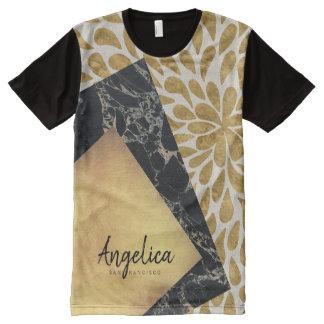 Camiseta Com Impressão Frontal Completa Monograma à moda da pedra do mármore do preto da
