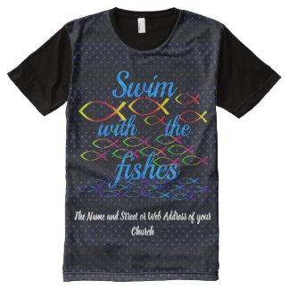 Camiseta Com Impressão Frontal Completa Natação com os peixes