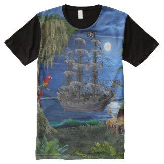 Camiseta Com Impressão Frontal Completa Navio de pirata enluarada Mystical