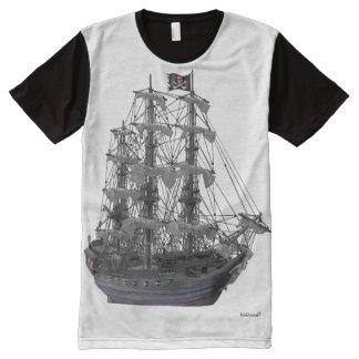 Camiseta Com Impressão Frontal Completa Navio de pirata Mystical