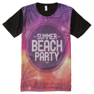 Camiseta Com Impressão Frontal Completa Noite do partido da praia do verão