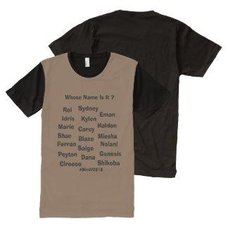 Camiseta Com Impressão Frontal Completa Nomes unisex no t-shirt dos homens por