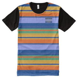 Camiseta Com Impressão Frontal Completa O amarelo alaranjado dos azuis dos homens colore