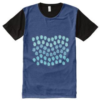 Camiseta Com Impressão Frontal Completa O azul acena homens por todo o lado no t-shirt