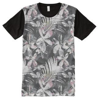 Camiseta Com Impressão Frontal Completa O hibiscus tropical floresce o esboço