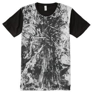 Camiseta Com Impressão Frontal Completa O pai da roupa abstrata do estilo das árvores